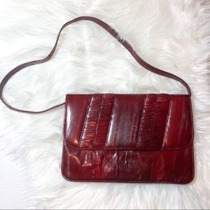 Vintage Ox Blood Red Eel Skin Purse